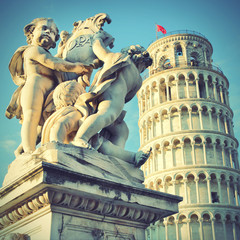 Wall Mural - Statue of angels and Leaning Tower
