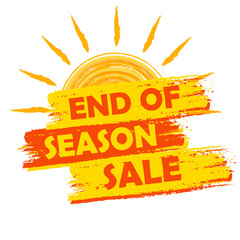 end of season sale with summer sun sign, yellow and orange drawn
