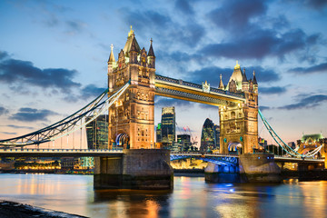 Fotobehang Londen Tower Bridge in London, UK at night