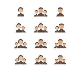 Businessman businesswoman icons set
