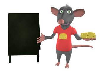 illustration of a cartoon mouse showing blank board