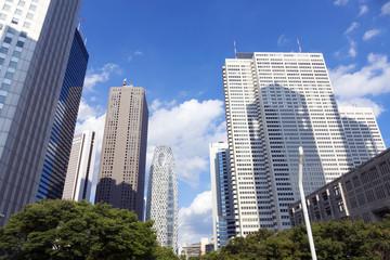 [東京都市風景]青空に流れる白い雲と新宿高層ビル街を望む