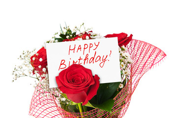 Roses bouquet and card Happy Birthday