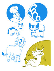 set of lables and illustrations for milk