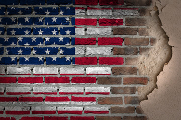 Dark brick wall with plaster - USA