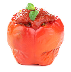Prepared stuffed pepper with meat, rice and tomato sauce,