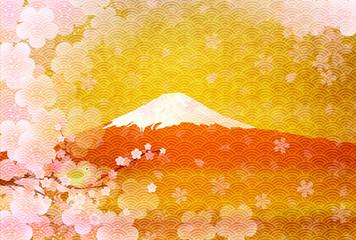 富士山 梅 年賀状