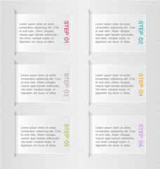 Modern infographics white square design template with shadow