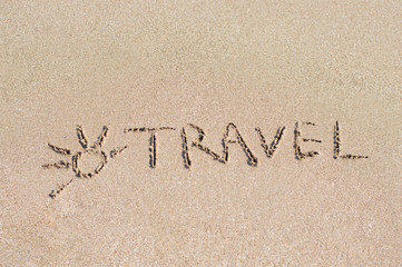 Sand and sun background. Inscription on wet sand. Travel.