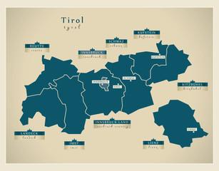 Moderne Landkarte - Tirol AT