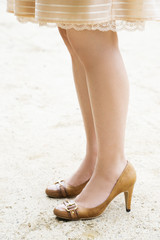 The legs of a woman with heels. Asian young girl style.