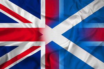 Waving Scotland and United Kingdom Flag