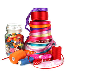 Colorful ribbons, sewing, craft and haberdashery items