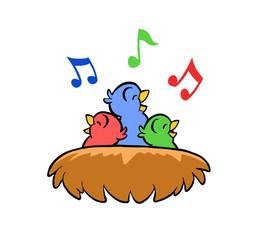 Singing Birds in Bird's Nest