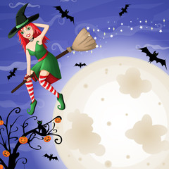 halloween card with sexy red-haired witch flying over moon