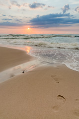 Sea Sunset and footprints