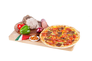 Italian pizza with ham, bell pepper, chicken, grilled mushrooms,