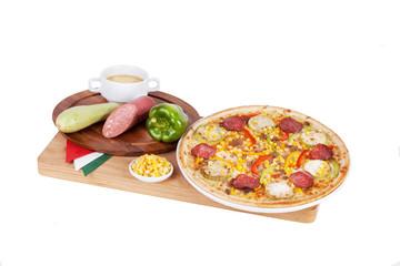Italian pizza with squash, zucchini, corn, peppers, sausage, sal