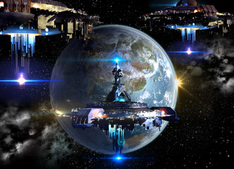 Alien spaceship fleet nearing Earth
