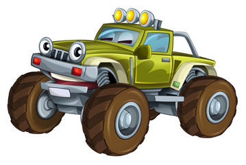 Cartoon car - off road vehicle - isolated - illustration