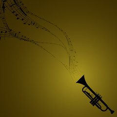 Trumpet with Musical Symbols