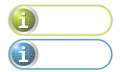 two vector buttons with grid and info symbol