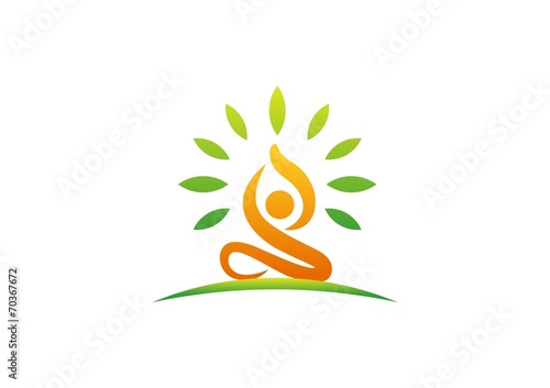 wellness logo yoga fitness people health nature meditation stock