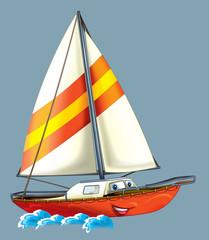 Cartoon boat- illustration for the children