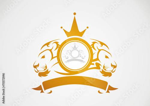 Gold Badge Lion In Circle Crown Logo Vector