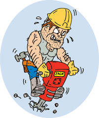 Construction Worker Jackhammer Drilling Cartoon