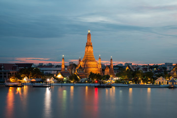 Wat Arun Buddhist religious places in twilight time, Bangkok, Th