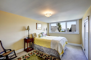 Bedroom interior in soft ivory color