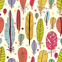 Cute seamless pattern with feather.