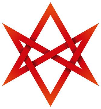 Red Unicursal Hexagram 3D