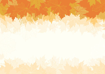 Vector background with Autumn maple leaves at retro style