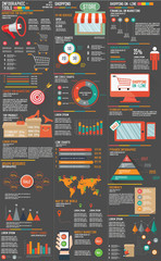 Marketing and online Shopping Infographic on dark background