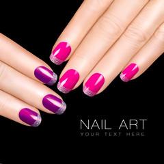 Trend Nail Art. Luxury Nail Polish. Glitter Nail Stickers