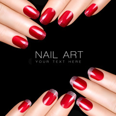 Trend Nail Art. Luxury Nail Polish. Glitter Nail Stickers