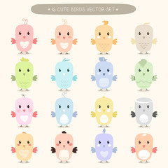 Cute birds icons