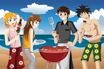 Young people having a bbq
