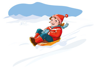 Kid with sledge, snow - happy winter vacation