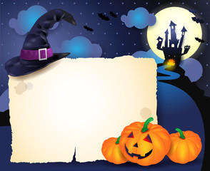 Halloween background with parchment