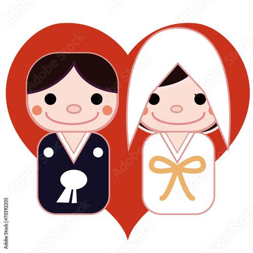 和装結婚式のイラスト ハート背景fotoliacom の ストック写真と