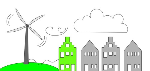 Windenergie - groene woning in dorp