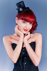 Studio portrait of young woman  in pin-up style