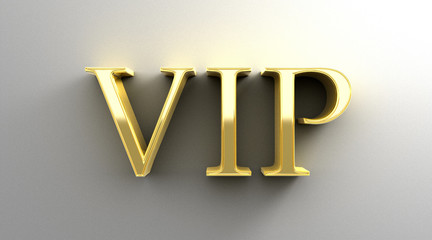 VIP - gold 3D quality render on the wall background with soft sh