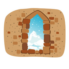 stone wall with window vector