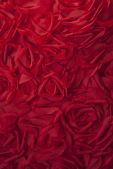 beautiful red roses made ​​of cloth