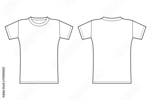 T-shirt template. Front and back view in black contour\