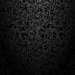 Black  floral wallpaper pattern.